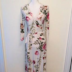 Floral Tie Front Maxi Dress
